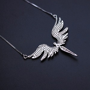 Image 4 - Newranos Angel Wing Charm Necklace Micro Paved Cubic Zirconias Pendant Necklace Champagne Gold Color for Women Jewelry NFX001402