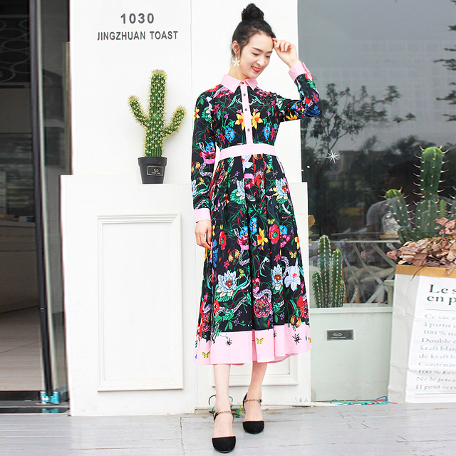S-4XL High Quality 2017 Brand Runway New Fashion Print Lapel Folded Button Decorative Long Sleeve Dress Casual Vacation Clothing