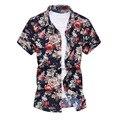 Мужские Рубашки Гавайская Рубашка Летняя Мода Мужская С Коротким Рукавом Рубашки Пляж Цветы Отпечатано Мужской Одежды Бренда-clothing MCS015