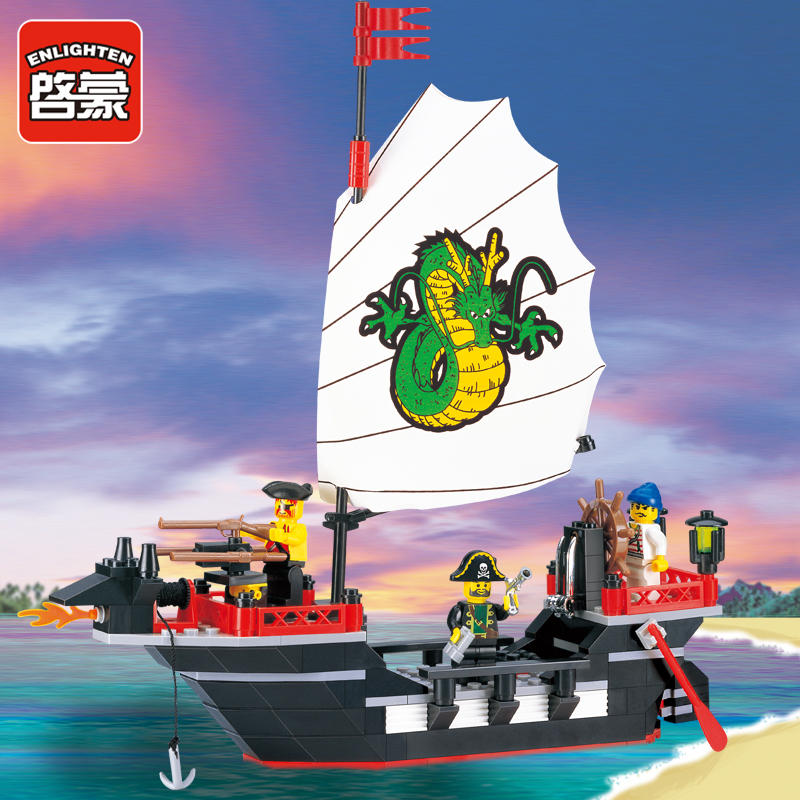 Enlighten 301 Building Block Pirate Ship Dragon Boat Building Block 211pcs Educate DIY brick Playmobil Toy compatiable with lego brick master 301 печка