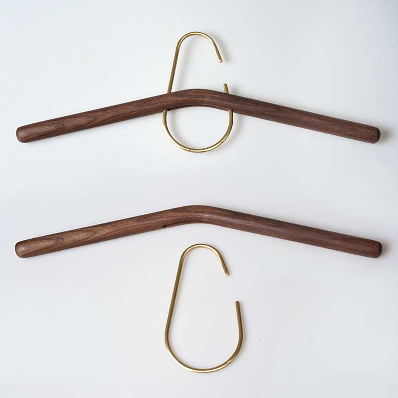 Household Solid Wood Hanger Nordic No Trace Clothes Tie Rack Walnut Copper Hook Adult Clothes Hanging Creative Storage Hook 40cm