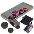 Para lenovo k3 k920 k910 k900 k80m a516 nota 8 de ojo de pez macro gran angular 3 en 1 universal clip teléfono cámara de vidrio + metal lentes