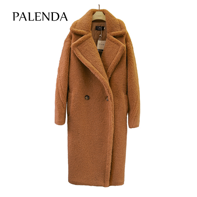 2018 new teddy coat faux fur long coat women lamb fur coat 4 color 2