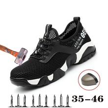 New Mens Steel Toe Caps Breathable Safety Work Shoes Outdoor Non-slip Piercing Protection Construction Boots