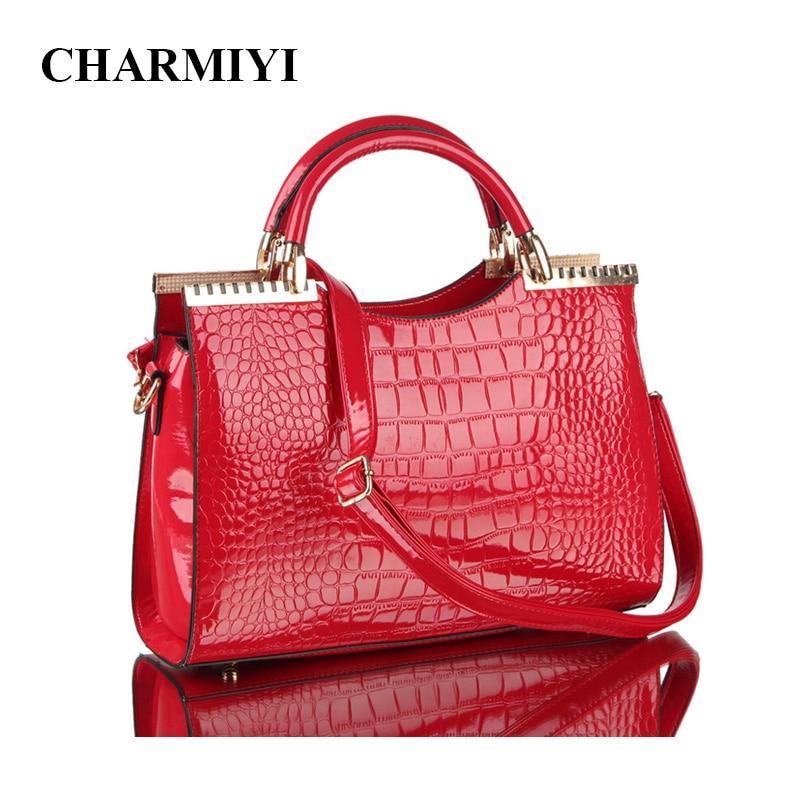 CHARMIYI Fashion Patent leather Women Tote Bag Lady Alligator Handbag High Quality Elegant Mature Woman Shoulder Messenger Bags patent leather handbag shoulder bag for women