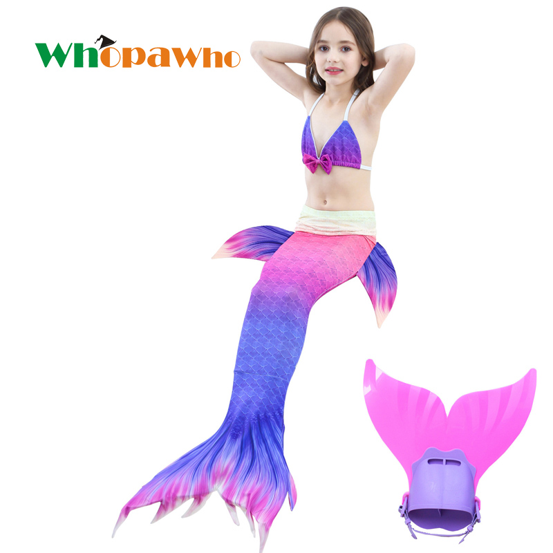 2018 HOT!Ariel Children Swimmable Mermaid Tail Mermaid Tail Girls Swimming Dress with Flipper Bikini Costume Cosplay