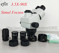 efix 3.5 90X Simul Focal Trinocular Zoom Stereo Microscope Head SZM0.5X 2X WD165mm Glass Lens Microscopio Accessories