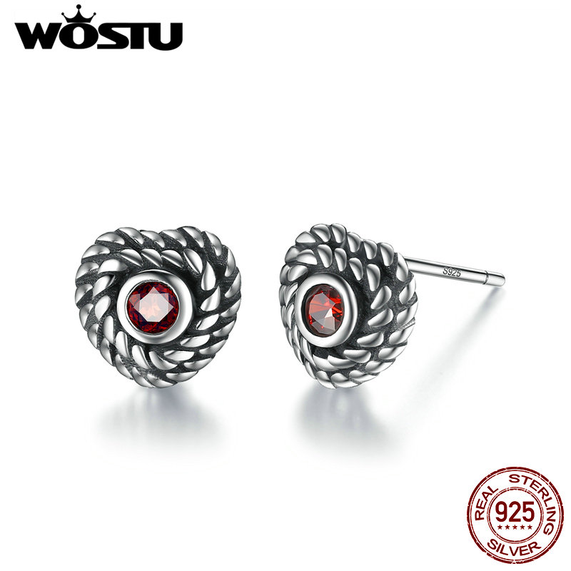 WOSTU Hot Sale 925 Sterling Silver Constant Love Heart Stud Earrings For Women Men Authentic Fine Jewelry Gift CSE005