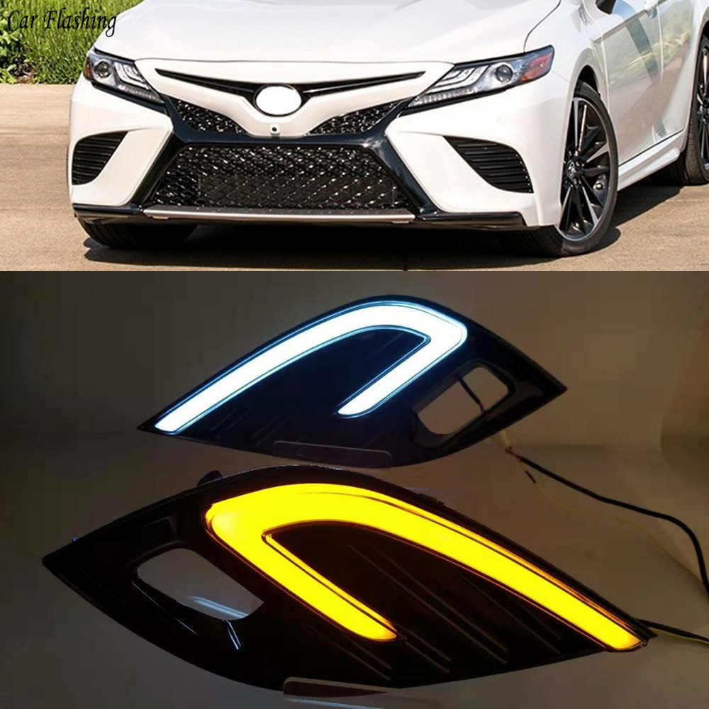 2pcs LED Fog Lamp For Toyota Camry 2018 2019 XSE SE DRL Daytime Running Lights White Driving Light + Yellow Turn Signal lamp