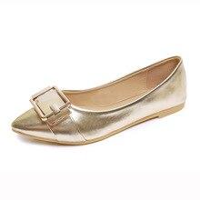 Острым Носом мелкая рот золотые серебряные туфли на плоской подошве Корейский женская обувь OL с низкой оккупации коммутирующих сезонов работы обувь
