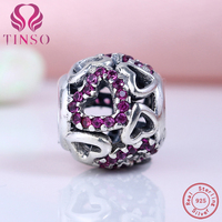 100% Real 925 Sterling Silver Charm Purple Heart Cubic Zirconia Fit Original Pandora Charm Beads Bracelet Authentic Jewelry Gift