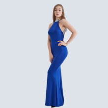 Halter Neck Maxi Backless  Mermaid Bridesmaid Sequins Long Slim Prom Dress
