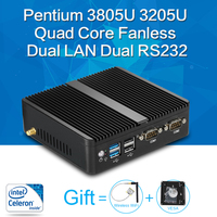 XCY Mini PC Pentium 3805U Quad Core 8G RAM DDR3L Windows 10 7 8 Fanless Nuc