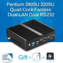 Xcy mini pc pentium 3805u quad core 8g ram ddr3l windows 10/7/8 sans ventilateur nuc micro pc wifi hdmi vga double rs232 double RJ45