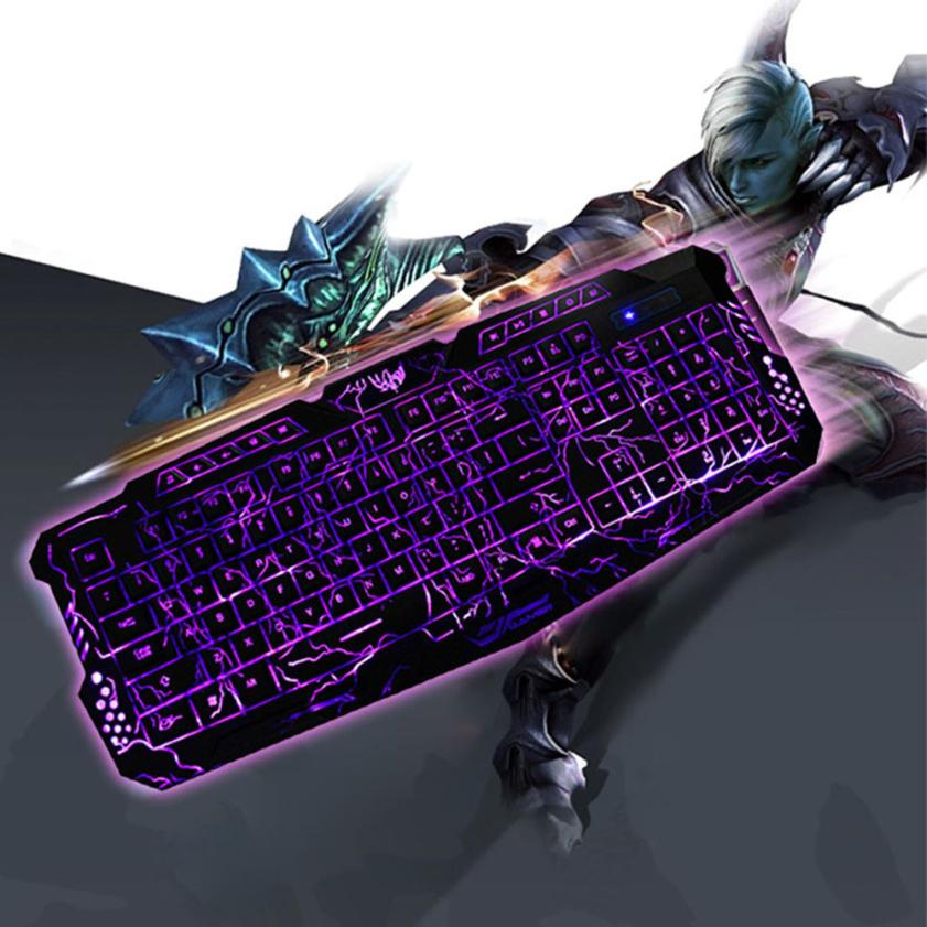 2017 HOT SALE New USB Wired 3 Colors Crack Illuminated LED Backlight Multimedia PC Gaming Keyboard for LOL DOTA CF NICE