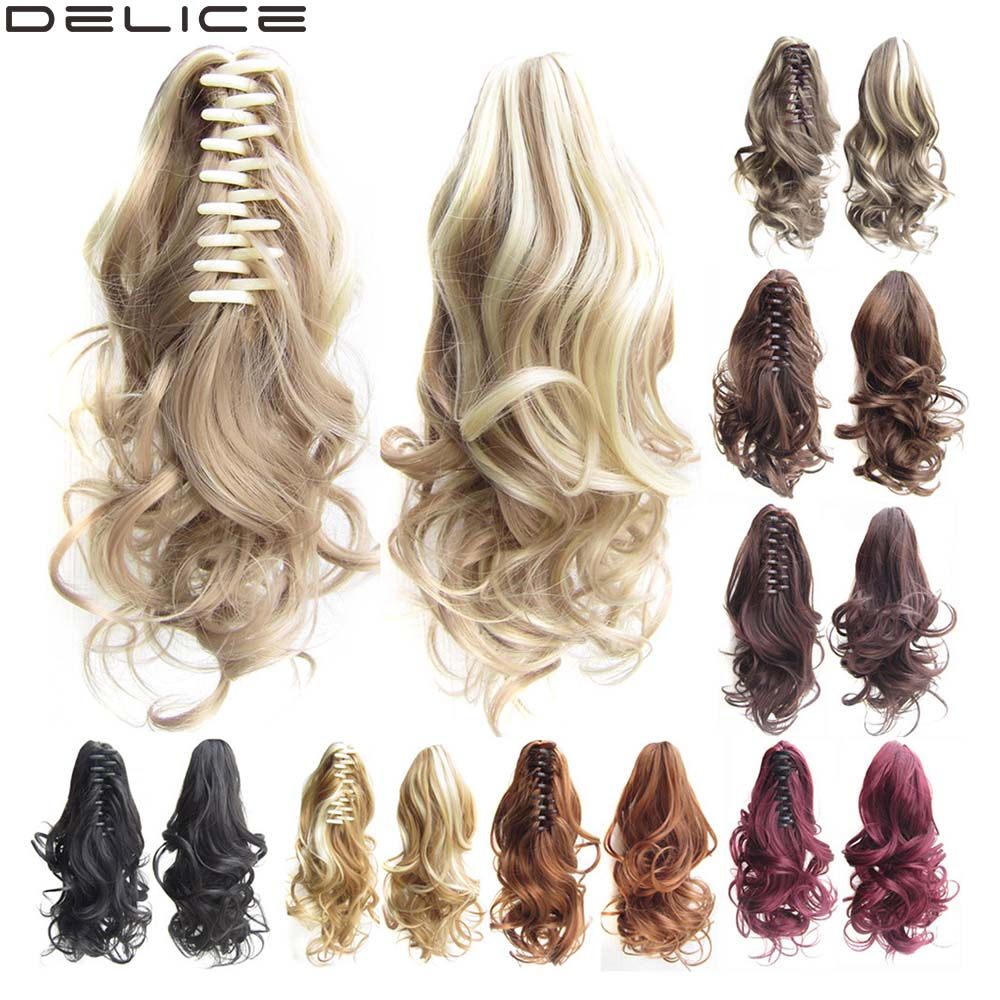 DELICE 16inch Short Curly Claw Ponytails Extensions High Temperature Fiber Synthetic Clip-in Pony Tail Hairpiece Blonde Brown