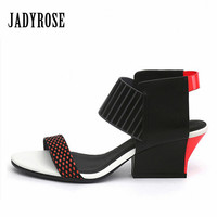 Jady Rose Mixed Color Women S Gladiator Sandals 2017 Summer Chunky High Heels Valentine Shoes Woman