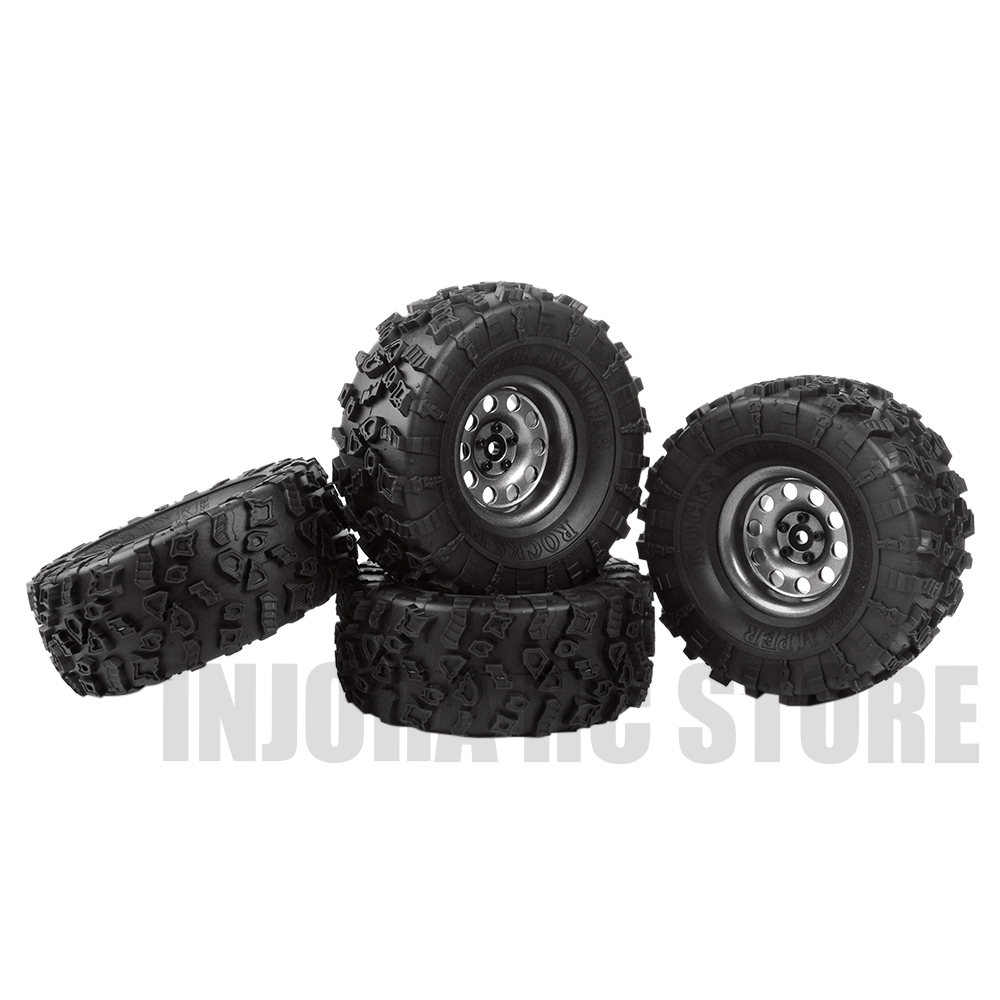 Metal 2.2 4Pcs Rubber Tires&Beadlock Wheel Rim for 1/10 RC Rock Crawler Axial SCX10 RR10 90053 AX10 Wraith 90056 90045 YETI 4pcs 1 9 rubber tires