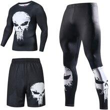 Супергерой сжатия костюмы Для мужчин; спортивный костюм быстросохнущая управлением наборы одежда спортивные джоггеры тренажерный зал Фитнес человек комплект