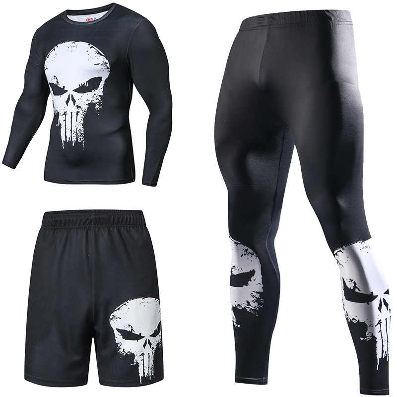 Superhero Compressie Trainingspakken heren Sport Pak Quick Dry Running sets Kleding Sport Joggers Training Gym Fitness Man Set