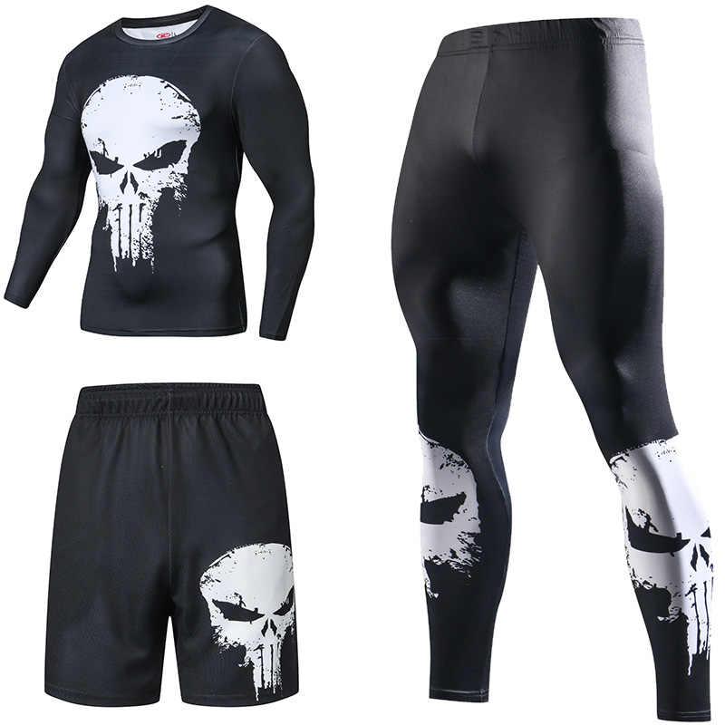 Superhero Kompresi Baju Olahraga Pria Setelan Olahraga Cepat Kering Set Pakaian Olahraga Lari Latihan Gym Kebugaran Pria Set