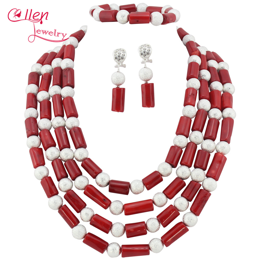 Red African Coral beads Jewelry Set Coral Beaded Necklace Set Nigerian Wedding Beads Jewelry Set W7109 цена
