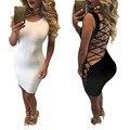 2016 Sexy Летнее Платье Без Рукавов Кружева Slim Fit Bodycon Платье Для Женщин