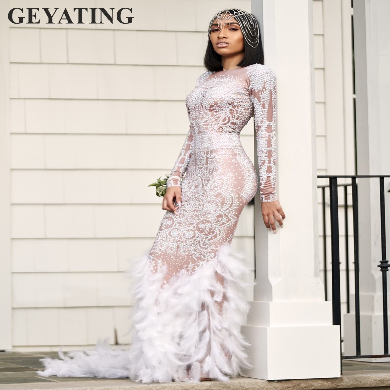 Luxury Heavy Crystal Feather Mermaid Long Prom Dresses For Black Girls 2k20 Long Sleeve African Formal Dress Evening Party Gowns