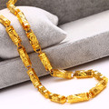 Heavy thick hexagonal pillar chain necklace  yellow gold plated necklace statement jewelry gift for men 160g