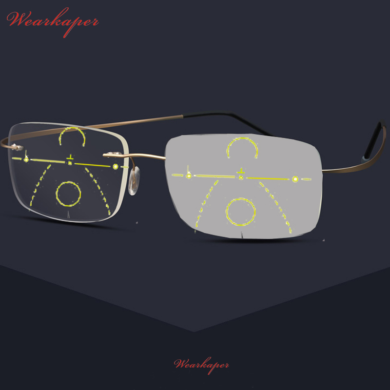 WEARKAPER Titanium Alloy Progressive Reading Glasses Men Adjustable Vision With Multifocal Diopter Glasses 1-3