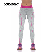 NEW KYK1030 Sexy Girl Women Solid Gray Pink Striped High Waist Polyester Fitness Leggings Pants Plus Size