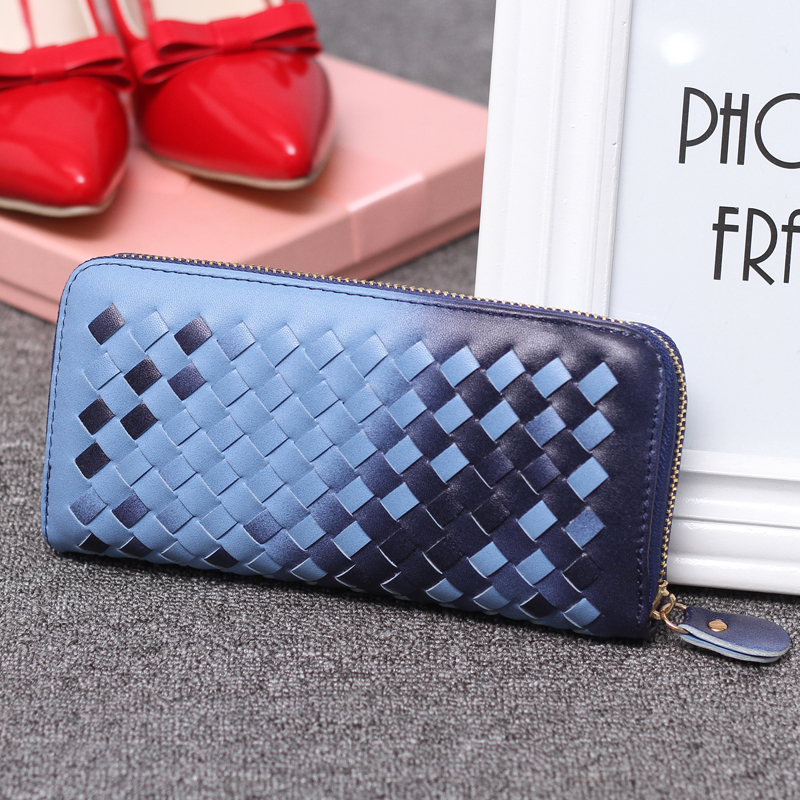 7Colors Fashion Women's Knitting Zipper  PU Leather Clutch Case Lady Long Handbag  Wallet  Purse STJB Blue saf lady s pu leather wallet clutch long handbag phone case red