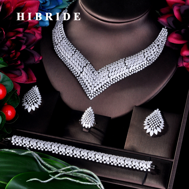 HIBRIDE Luxury Big Nigerian 4pcs Cubic Zircon Pave Necklace Jewelry Sets Women Bridal Wedding Accessories Jewelry N-782HIBRIDE Luxury Big Nigerian 4pcs Cubic Zircon Pave Necklace Jewelry Sets Women Bridal Wedding Accessories Jewelry N-782