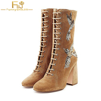 Vintage Embroidery Knee High Boots Suede Lace Up Chunky Heel Mid Calf Women Shoes Birds Prints Pointed Toe Motorcycle Boots FSJ