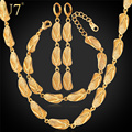 U7 Dubai Gold Plated Jewelry Sets For Women Gold Plated Sandal Shapes Earrings Bracelet Necklace Set African Jewelry S659
