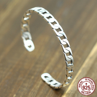 100% S925 men's women's bracelets retro personality simple jewelry hollow open a lifetime gift ring to send a gift of love hot