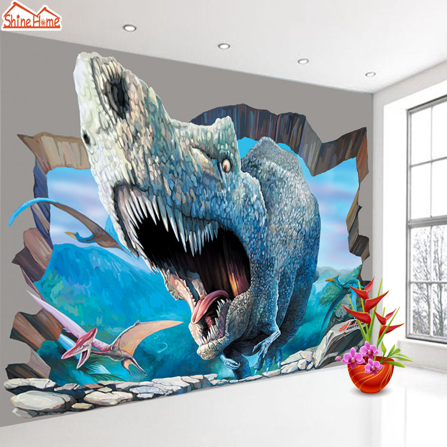 ShineHome-Large Custom Dinosaur Photo Wallpapers 3D Contact Paper 3d Kids Girls Boys Children Living Room Wall Murals Wallpaper shinehome modern custom elephant skyline photo wallpaper 3d stereoscopic decorative wall paper murals boys children kids room
