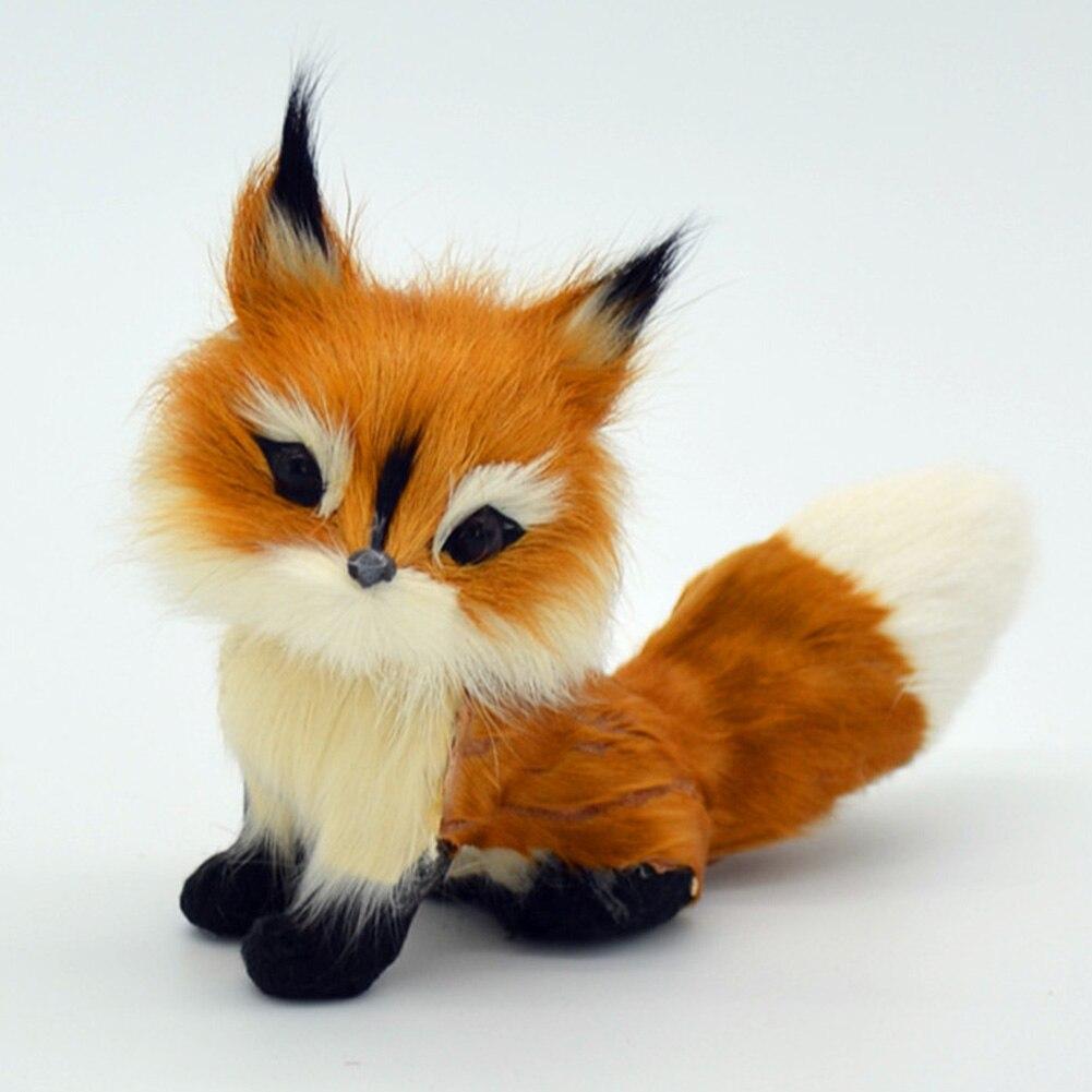 Home Stuffed Animal Simulation Fox Model Mini Squatting Birthday Girls Soft Lovely Wedding Decoration Plush Toy Small Gifts