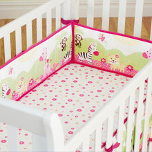 Cartoon Breathable Cotton Baby Crib Bumper Bnfant Bedding Baby Safe Protection for Baby Bedding Sets Bumper Lion flowers 4Pcs