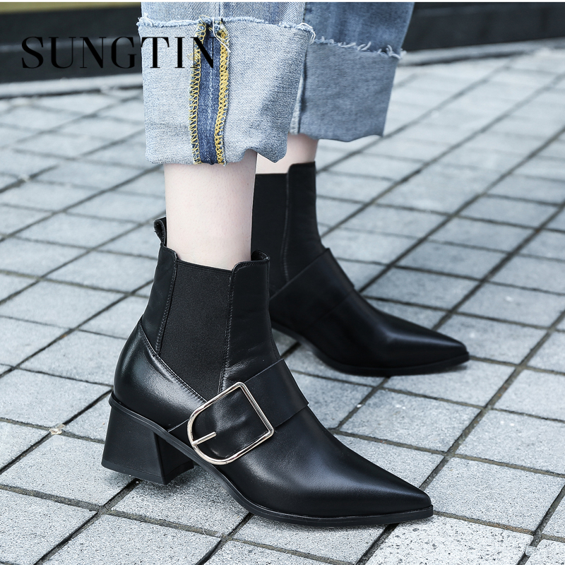 Sungtin High Quality Genuine Leather Pointed Toe Chelsea Boots Women Mid Heel Ankle Boots Autumn New Short Boots Ladies Booties 2018 autumn new style genuine leather ankle boots pointed toe thick heel chelsea boots calf leather women boots ladies shoes