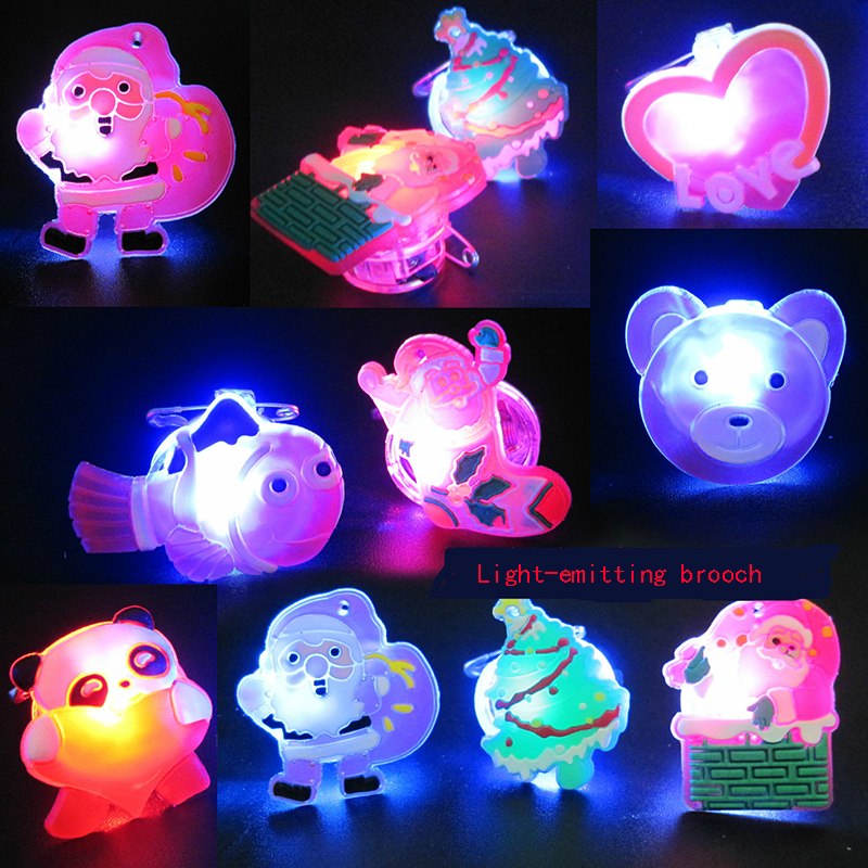 1pcs Luminous Toys/Light-emitting Brooch/led Flash Badge/cartoon Pin/colorful Light/baby Toys For Children/toy/Christmas Gift