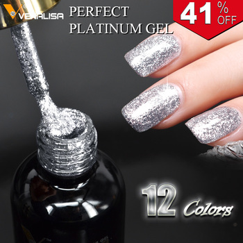 #60752 2019 New Venalisa supply nail art Venalisa 12ml 12 color supper diamond shining glitter sequin starry platinum paint gel