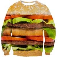 New Arrive Women Men Fashion 3d Sweatshirt Jumper Funny Food Hamburger Burger Hoodies Pullovers Autumn Outerwear