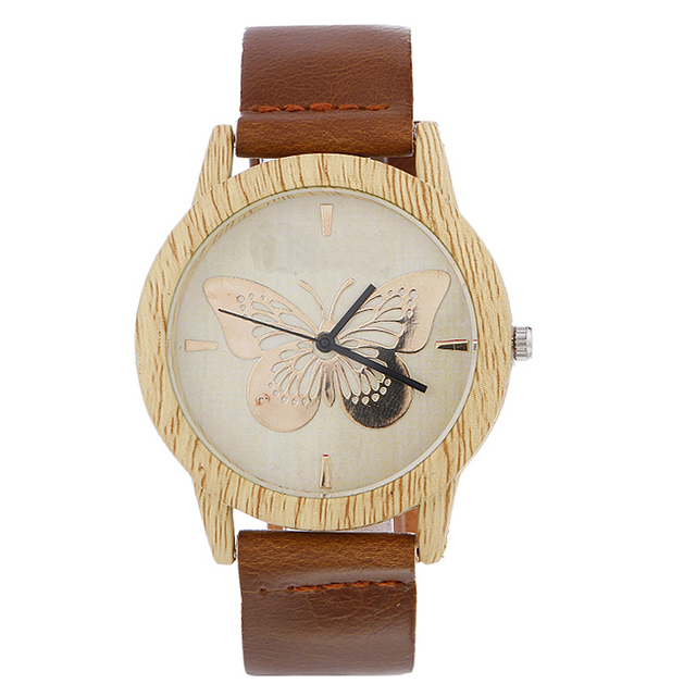 2017 Casual Creative Butterfly Wood Watch Wooden Handmade Wrist Watch Simple Vin
