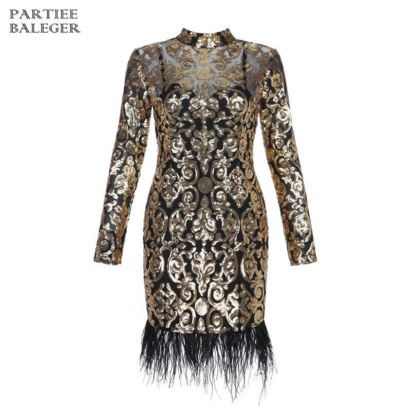 La Or Robe D'or Mini 2019 Bandage Nouveauté Celebrity Paillettes Manches Longues Conception Col Club Plume Montant Party Mode À qwHAp