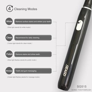 Image 4 - Seago SG 551 Sonic แปรงสีฟันไฟฟ้าผู้ใหญ่สมาร์ทจับเวลา 4 โหมดลึกทำความสะอาดช่องปาก USB แปรงสีฟันชาร์จด้วยหัวแปรง 3 หัว