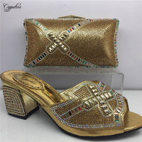 High class gold African sandal shoes matching with evening bag set with rhinestones GY3, heel height 6cm