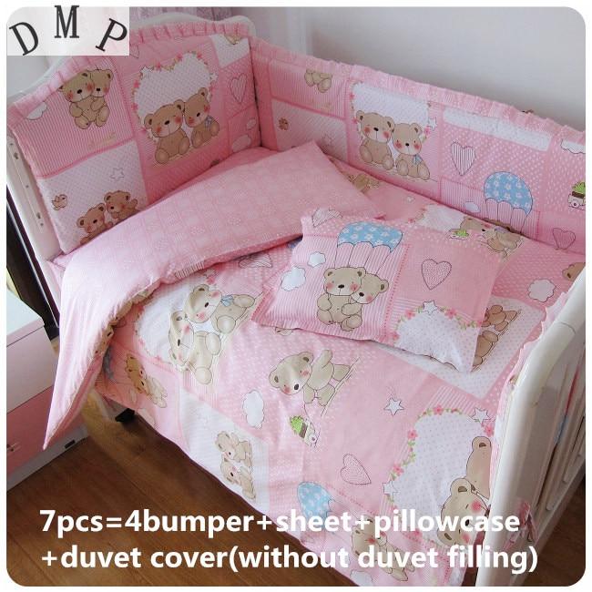 Promotion! 6/7PCS Pink Bear baby bedding set crib for babies bed linen ,120*60/120*70cm