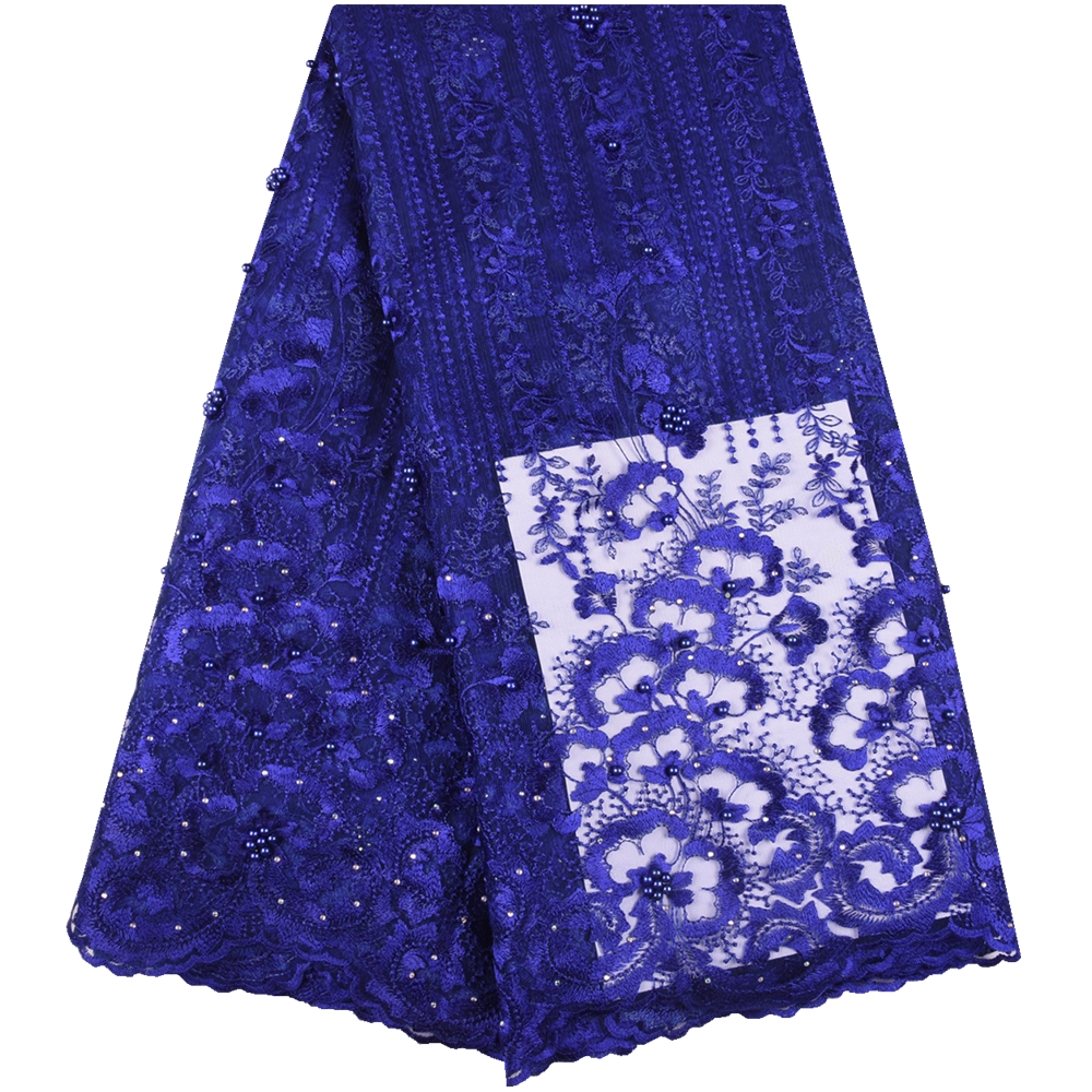 Royal Blue African Tulle Lace Fabric New 2019 High Quality Guipure Cord Lace Bridal Nigerian Lace
