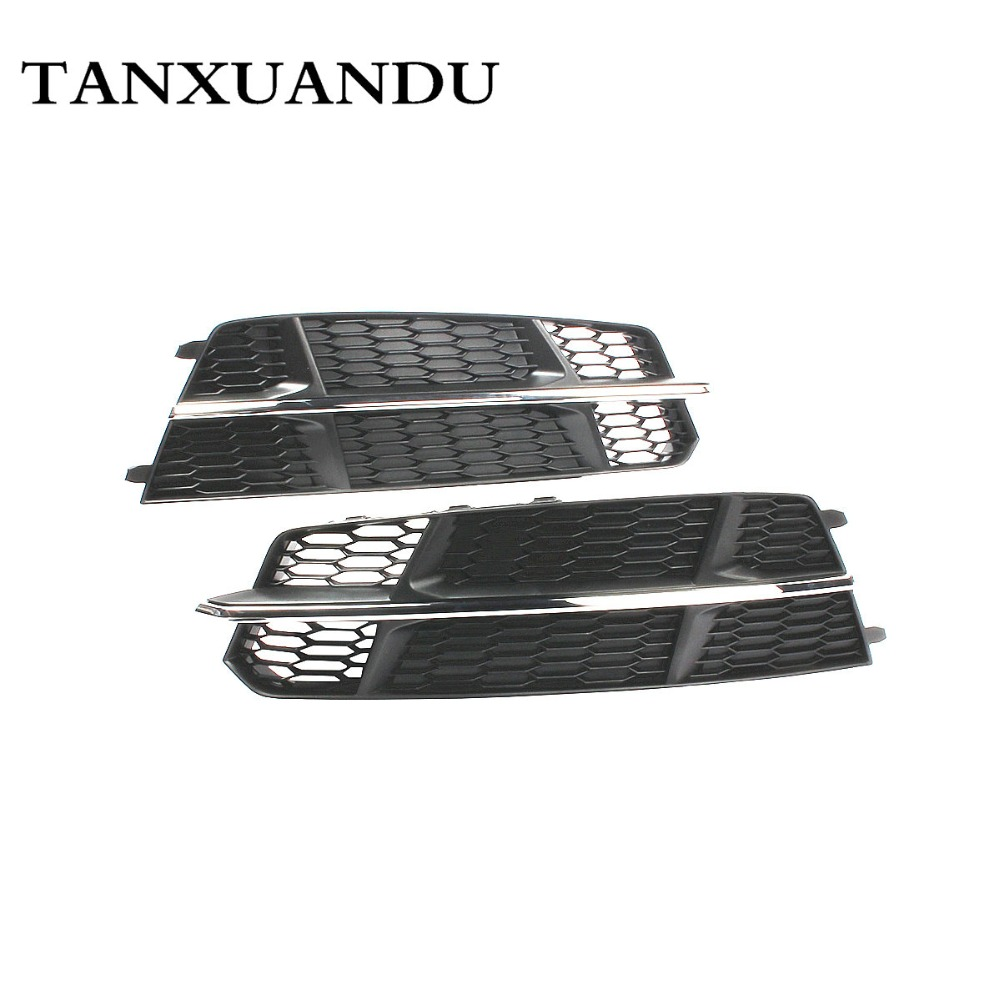 No Hole Front Bumper Lower Fog Light Lamp Grill ACC Grille Chrome Trim Fit For AUDI